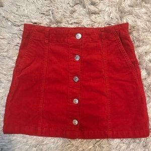 Red Forever21 Corduroy Mini Skirt